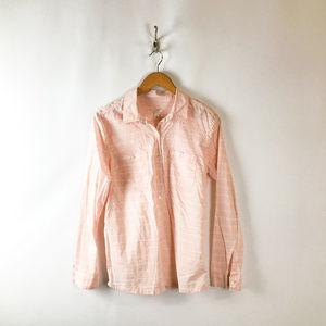 Caslon Womens Pink White Button Down Shirt